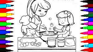 coloring pages kitchen l mommy baking with boy and l drawing