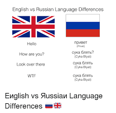 Language Meme - english vs russian language differences hello how are you look over
