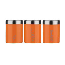 tea coffee and sugar canister set with orange enamel finihs