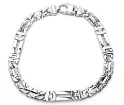 men white gold bracelet images Men 39 s 14k white gold figaro style bracelet w raised diamond shaped jpg