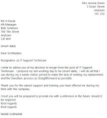 it support technician resignation letter example toresign com