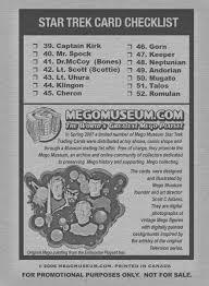 mego museum trading cards checklist mego cards