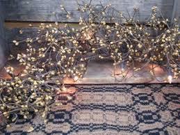 lighted gold pip berry garland 4ft primitive quilt shop