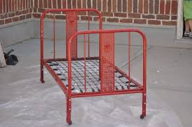 Antique Metal Bed Frame Furniture Red Painted Vintage Metal Bed Frames Using Spring