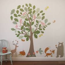 oak tree and animals woodland wall stickers by parkins interiors oak tree and animals woodland wall stickers