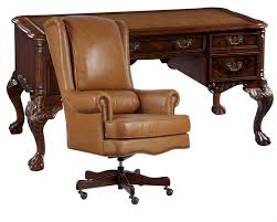 hekman desk leather top office set w leather top writing desk by hekman he 73992 set