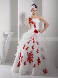 two tone appliqued organza and satin wedding gown with flower