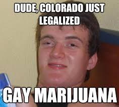 Marijuana Meme - dude colorado just legalized gay marijuana