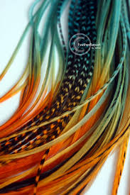 feathers for hair orange teal blue ombre feather hair extensions 8 hair feathers