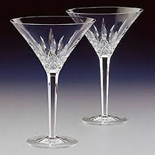 waterford lismore martini glasses pair