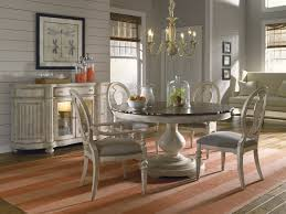 Dining Table Chairs Set Luxury Coastal Whitewash Finish Round Oval Dining Table Chairs Set