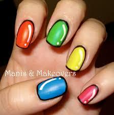 manis u0026 makeovers neon cartoon nails with esmaltes fantastic de vogue