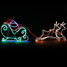 santa sleigh and reindeer outdoor decoration simple outdoor