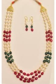string beads necklace images 3 string pearl and oval ruby emerald necklace set with 24kt gold jpg