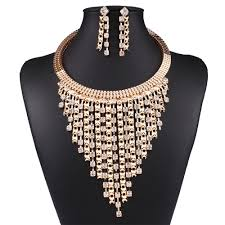 crystal necklace store images Crystal bib necklace with matching earrings top tier style jpg