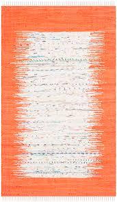 Cotton Weave Rugs Ivory Orange Safavieh Montauk Hand Woven Flat Weave Area Rug