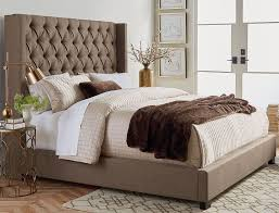 King Bed Frame Upholstered Westerly Brown Upholstered King Bed Set The Furniture Mart