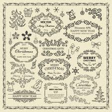 elements of christmas vintage frames and ornaments vector 02 2