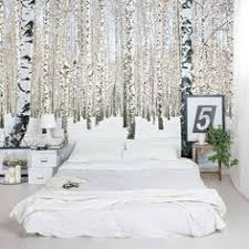 Bed Wallpaper Sea Of Trees Forest Mural Wallpaper Bedroom Feature Walls