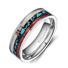 turquoise wedding rings 6mm 8mm deer antlers titanium ring wedding bands turquoise wood