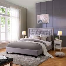 handy living abingdon queen sized mink grey velvet upholstered bed