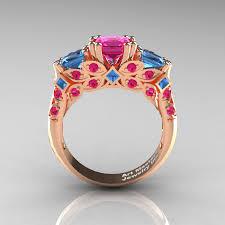 blue rose rings images Classic 14k rose gold three stone princess pink sapphire blue jpg