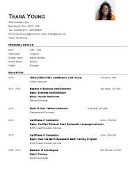 Usa Resume Teara Young Oxford Esl Master Resume Nov 2014