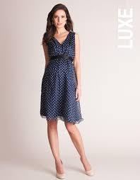 maternity dress navy blue polka dot silk maternity dress seraphine maternity