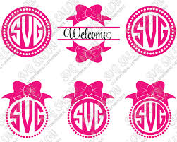 bow monogram polka dot circle and split monogram cutting file set in svg eps