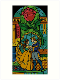 mini stained glass ls beauty and the beast stained glass art prints by hogies redbubble