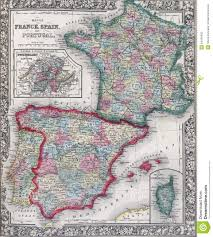 Map Of Spain And France by Antique Map Of Spain France And Portugal Stock Photo Image