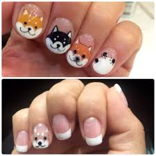 reference vs actual shiba inu nail art the only tan they had