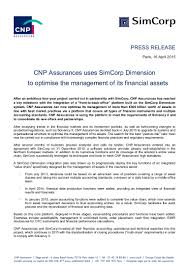 siege areas assurances cnp assurances partenariat simcorp press release