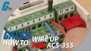 how to wire up i o on abb acs 355 ac drive for abb standard macro