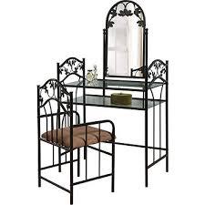 Portable Vanity Table Fingerhut Black Metal Scroll Leaf Vanity Mirror And Chair Set