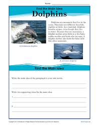 5th grade main idea worksheet about dolphins reading