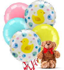 balloons and teddy delivery new baby 5 mylar balloons w teddy balloons