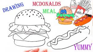 how to drawing and coloring pages for kids mcdonalds meal youtube