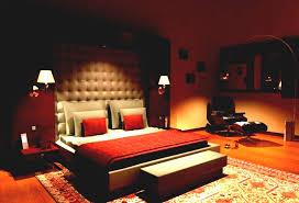 sporty bedroom decor for couples in warm orange hue interesting