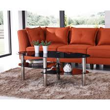 hodedah oval tempered glass 3 tier coffee table with chrome plated