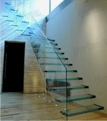 floating strong glass treads staircase with glass balustrade