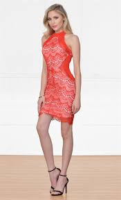 indie xo high road red lace sleeveless mock neck halter bodycon