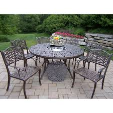 Oakland Patio Furniture 6 7 Person Round Patio Dining Sets Patio Dining Furniture