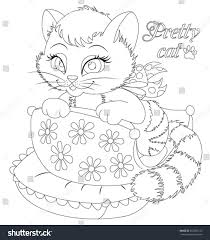 little cat coloring book stock vector 652535125 shutterstock