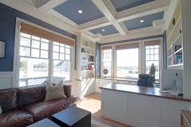 interior cool blue open plan kitchen decoration using solid oak