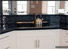 black kitchen tiles ideas glass mosaic tile black white countertop with backsplash intended