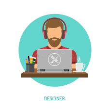 freelancer designer designer freelancer working on laptop stock vector image 92866988