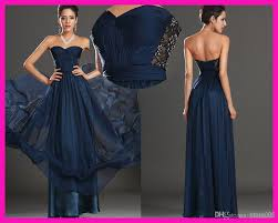navy blue sweetheart beaded lace long chiffon low back bridesmaid