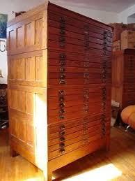 antique wood industrial flat file tool map art blueprint cabinet