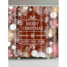 Discount Christmas Shower Curtains Wholesale Christmas Snowflake Letter Print Waterproof Shower